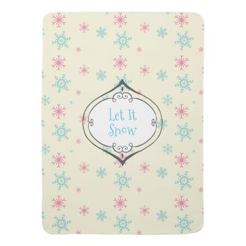 Let it Snow Pink And Blue Snowflake Pattern Receiving Blanket
