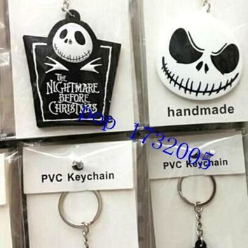 New  20 pcs  Nightmare Before Christmas  Double-sided PVC  Silicagel Key Chains DIY Metal Key Ring For Gifts Free Shipping  FY1