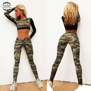 Brand New Camo sports suit female two-pieces Gym Clothing Yoga Set Running Workout sport wear for women Leggings Sportswear