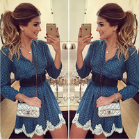 Fashion 3/4 Sleeves V-neck Lace A-line Short Bule Dress