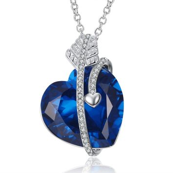 "Caperci ""Cupid's Arrow"" Valentines Day Gift Created Blue Sapphire Heart Pendant Necklace for Women, 18"""