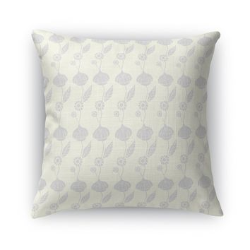 AN ELEGANT TRAIL OF FLOWERS, LIGHT Accent Pillow By Heidi Miller