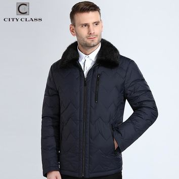 New Winter Jacket Men Detachable Mink Collar Quilted Lines Coats