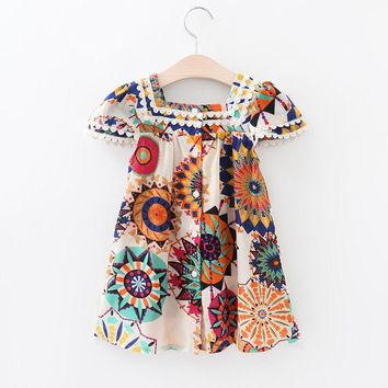 Summer Boho Dress Baby dress Kids Girls Floral Sleeveless Dress Princess Party Pageant Dresses 3-8Y