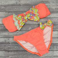 California Coral Chevron Bow Top Bandeau Bikini