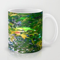 Leaves, Trees, Emerald Green, Yellow-Ceramic Mug, 2 Sizes Available-Kitchen, Bathroom, New Home or Apartment, Dorm, Gift-Made To Order-ES#27