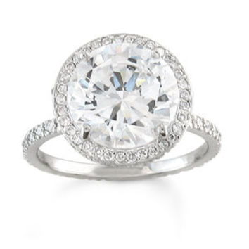 Platinum pave diamond halo engagement ring with 1.50ct White Sapphire and 0.50 ctw G-VS2 diamonds