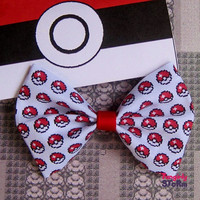 Pokemon Pokeball Pixel Hair bow/ Bow tie Handmade unique Geeky Kawaii Gamer Bow