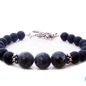 Men's Labradorite and Matte Black Onyx 925 Sterling Silver Bracelet with Bali Toggle Clasp, Men's Obsidian and Black Onyx Silver Bracelet