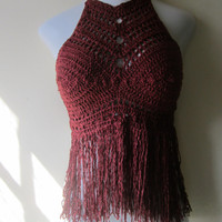 Festival top, fringe halter, bikini cover, beachwear, summer top, gypsy, Boho chic, BURGUNDY Cotton