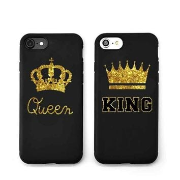 New Arrival King Queen Hard Plastic Ultra Thin Back Covers for Apple iPhone 7plus 6 6s 5 5s Luxury Crown Slim Phone Cases Shell