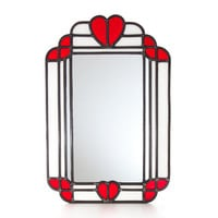 Stained Glass Heart Art Deco Mirror