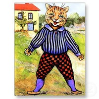 Cat Wearing Breeches by Louis Wain Postcards from Zazzle.com