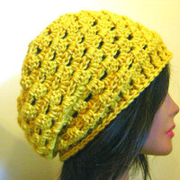 Yellow Slouchy Hat Lacy Mustard Womens Oversized Hipster Slouch Lace Beanie