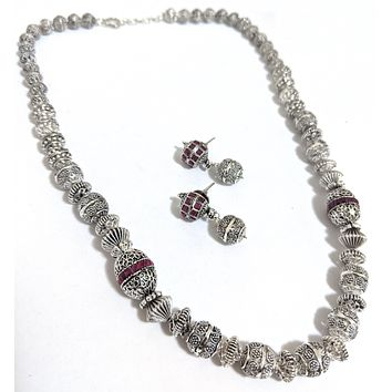 Bright Oxidized silver ball bead Chain Necklace and Earring set - Design 1