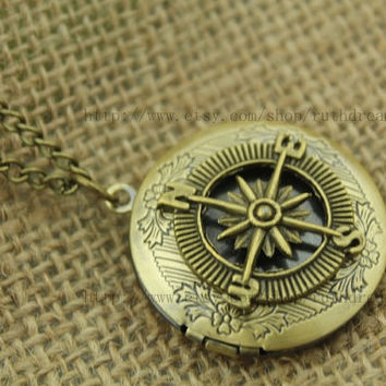 the brass compass locket necklace Antique personalized jewelry steampunk Unique gift vintage bronze