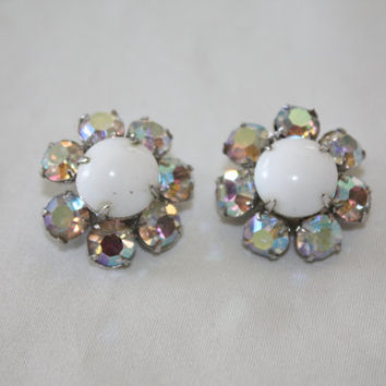 Vintage AB Rhinestone Earrings, Milk Glass Earrings, 1950s Jewelry Bridal Wedding