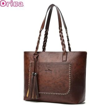 Driga Fashion  Large Capacity Causal Shoulder Bags for Women 2018 Fall Leather Fringe Purse Handbags Retro Tassel Shopper Tote