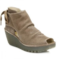 Fly London Womens Taupe Yema Oil Suede Wedge Shoes