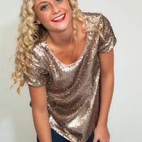 Glitter and Gold Sequin Top | Shop ORA