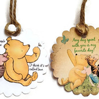 Classic Winnie The Pooh Gift Tags, Party Favor Tags,Thank You Tags,Birthday Party Decoration,Party Bag Tags,Baby Shower Favor Tags,Pooh Tags