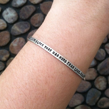 "Customizable Edgar Allan Poe Annabel Lee Verse ""We Loved With A Love That Was More Than Love"" Engraved Stamped Bracelet, Made to Order"