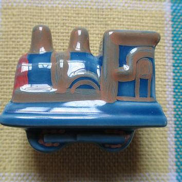Childrens Dresser Drawer Knobs Pulls Handles Ceramic Antique Old Vintage Train Blue / Kids Cabinet Knobs Handle Knob Pull / Baby Hardware