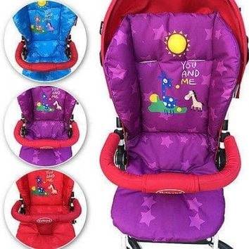 Winter New Baby Infant Stroller Cushion Giraffe Cartoon Pattern Car Seat Pad Cotton Warm Thick Cart Cover Mats Red