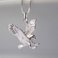 Eagle Necklace, Silver Eagle Charm, Silver necklace, Eagle Jewelry, Sterling Silver Necklace, Silver Eagle Pendant, American Eagle