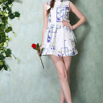 A-Line Collar Purple Floral Print Skater Dress with Lace Belt