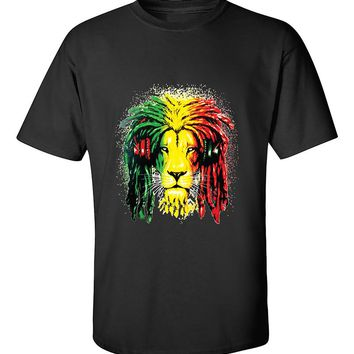 Lion Rasta Hair Bob Marley 420 Weed Smoking Marijauana Smokers T-Shirt