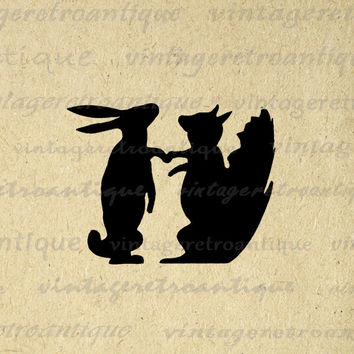 Printable Rabbit and Squirrel Silhouette Image Digital Download Graphic Antique Clip Art for Transfers etc HQ 300dpi No.3338