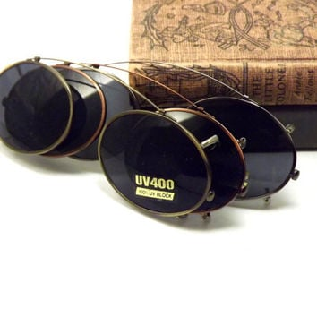 Oval Clip on Sunglasses, Bronze, Silver or Gold Metal with Gray UV Block Glasses Lenses, Vintage New Old Stock