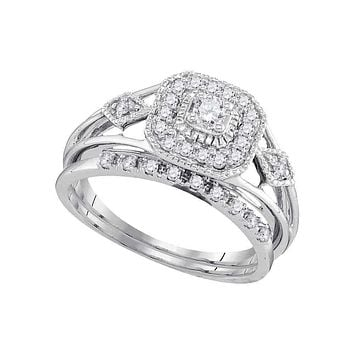 10kt White Gold Women's Round Diamond Square Bridal Wedding Engagement Ring Band Set 1/3 Cttw - FREE Shipping (US/CAN)