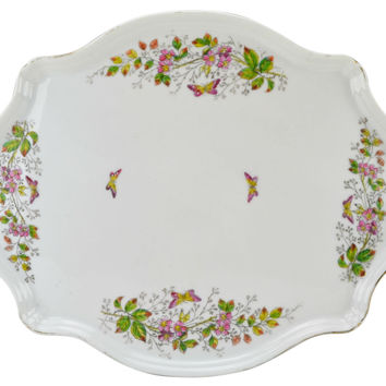 Tea Party Porcelain Tray with Flowers Antique French Early 1900s