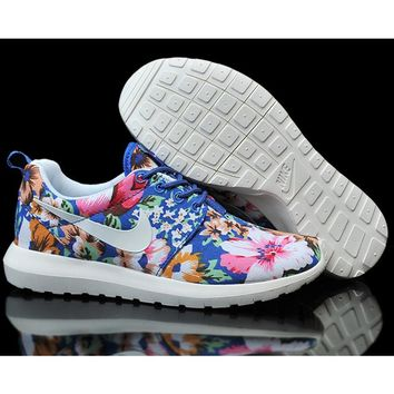 """Nike"" Women Flower Print Casual Sport Running Sneakers Sport Shoes Blue G-MDTY-SHININ"