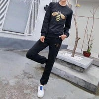 DCCK6HW Gucci' Women Casual Bee Embroidery Long Sleeve Sweater Trousers Set Two-Piece Sportswear