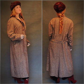 70s tweed coat / earthy wool rustic brown & speckled  / vintage Victorian revival London trench overcoat / Fall Winter outwear