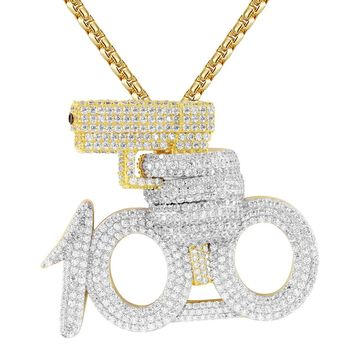 Silver 100 emoji with Gun Rich Shooter IcedOut Pendant Chain