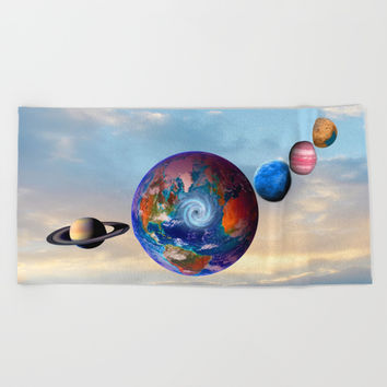 Gaia's friends #society6 Beach Towel by Azima
