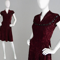 Vintage 40s Panne Velvet Dress Cap Sleeve 1940s Evening Dress Wine Velvet Dress 1940s Beaded Dress 40s Sequin Dress Cocktail Dress Deep Red