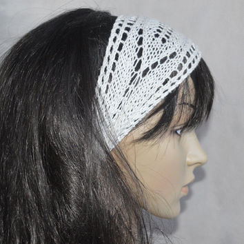 Ivory Lace Boho Headband, Ivory Bohemian Accessories, Hand Knit Lace Headband, Soft Alice Headband, Soft Cotton and Bamboo yarn