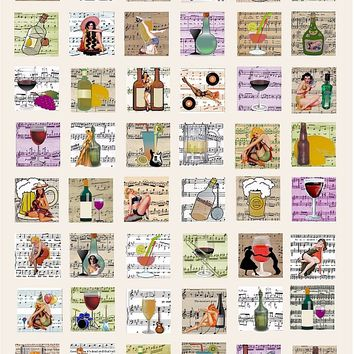 pin up girls wine musical instruments alcohol sheet music  collage sheet 1 INCH SQUARES