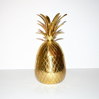 Vintage Brass Pineapple Box Hollywood Regency Brass Pineapple Box Pineapple Candle Holder Mid Century Barware