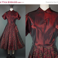 30 percent off 50s Flocked Dark Red Burgundy Wine Party Dress Vintage 1950s Shot Taffeta HUGE Pockets Short Sleeve M Medium