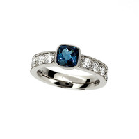 Cushion cut London blue topaz and 0.80ct Diamond solitaire ring, white gold, cushion, teal topaz engagement, bezel, diamond, milgrain, blue