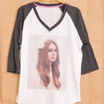 Lana Del Rey With Flower Flora Pop Punk Vintage Lady Women Fashion T shirt V Neck Size S M L