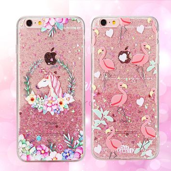 Luxury Bling Unicorn Case For iPhone X 7 7 Plus 6 6S Transparent Cover Cute Cartoon Animal Soft Phone Case For iPhone 8 8 Plus