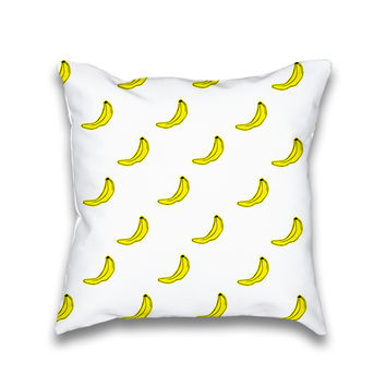 Banana Cartoon Pattern Print Throw Pillow