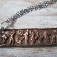 Copper Bar Necklace, Tribal Dancing People, Hieroglyphic People, Bib necklace, Metal Clay, Eco- Friendly, Vegan, Copper Black Chain,